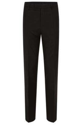 'Lenon Cyl' | Regular Fit, Virgin Wool Dress Pants, Black