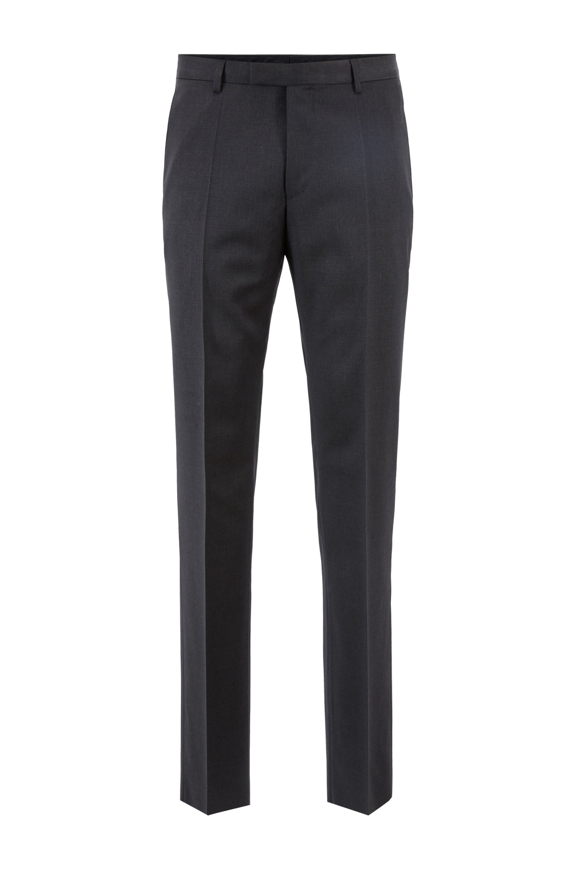 Straight-leg business pants in virgin wool, Dark Grey