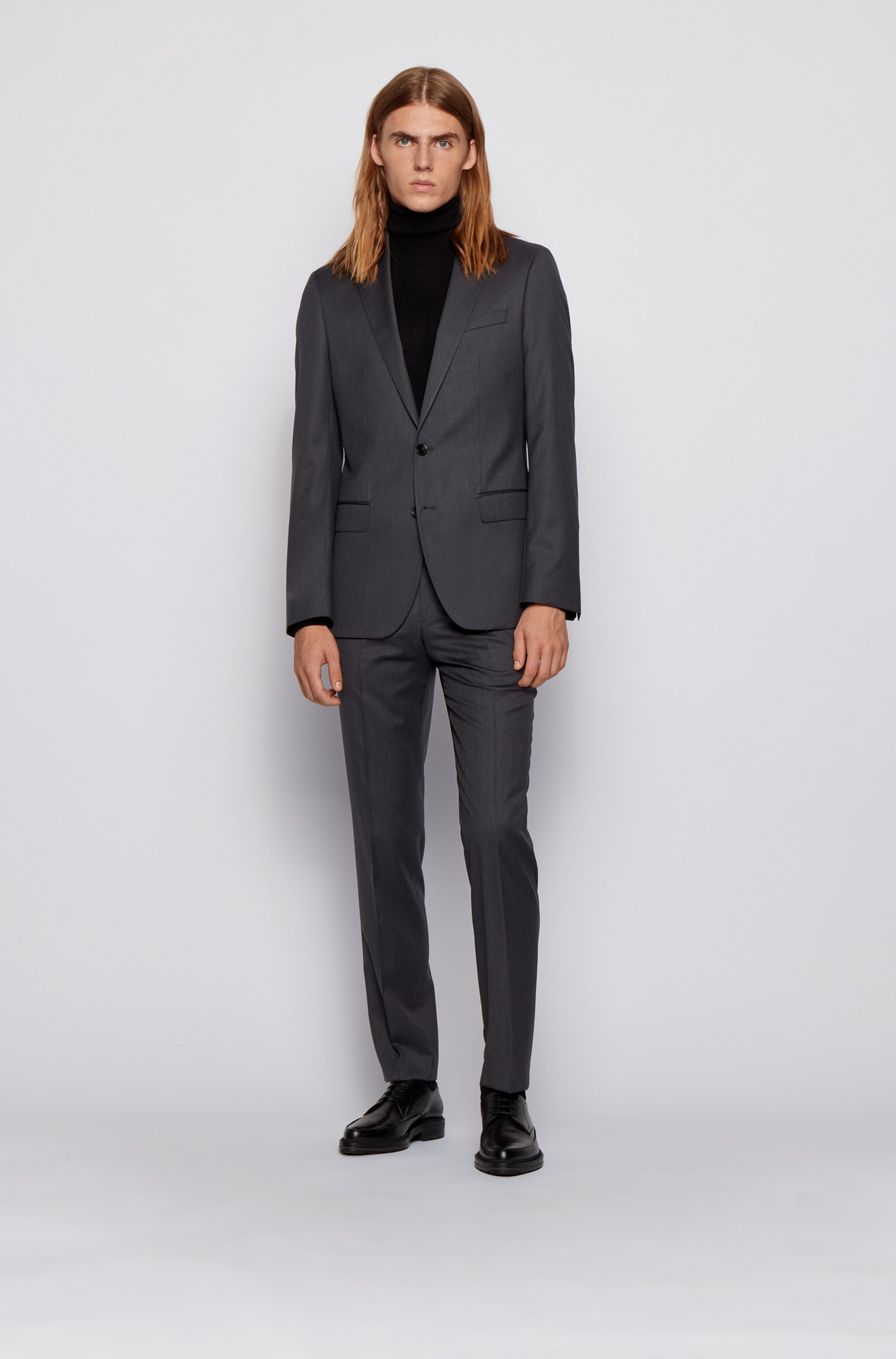 Straight-leg business pants in virgin wool
