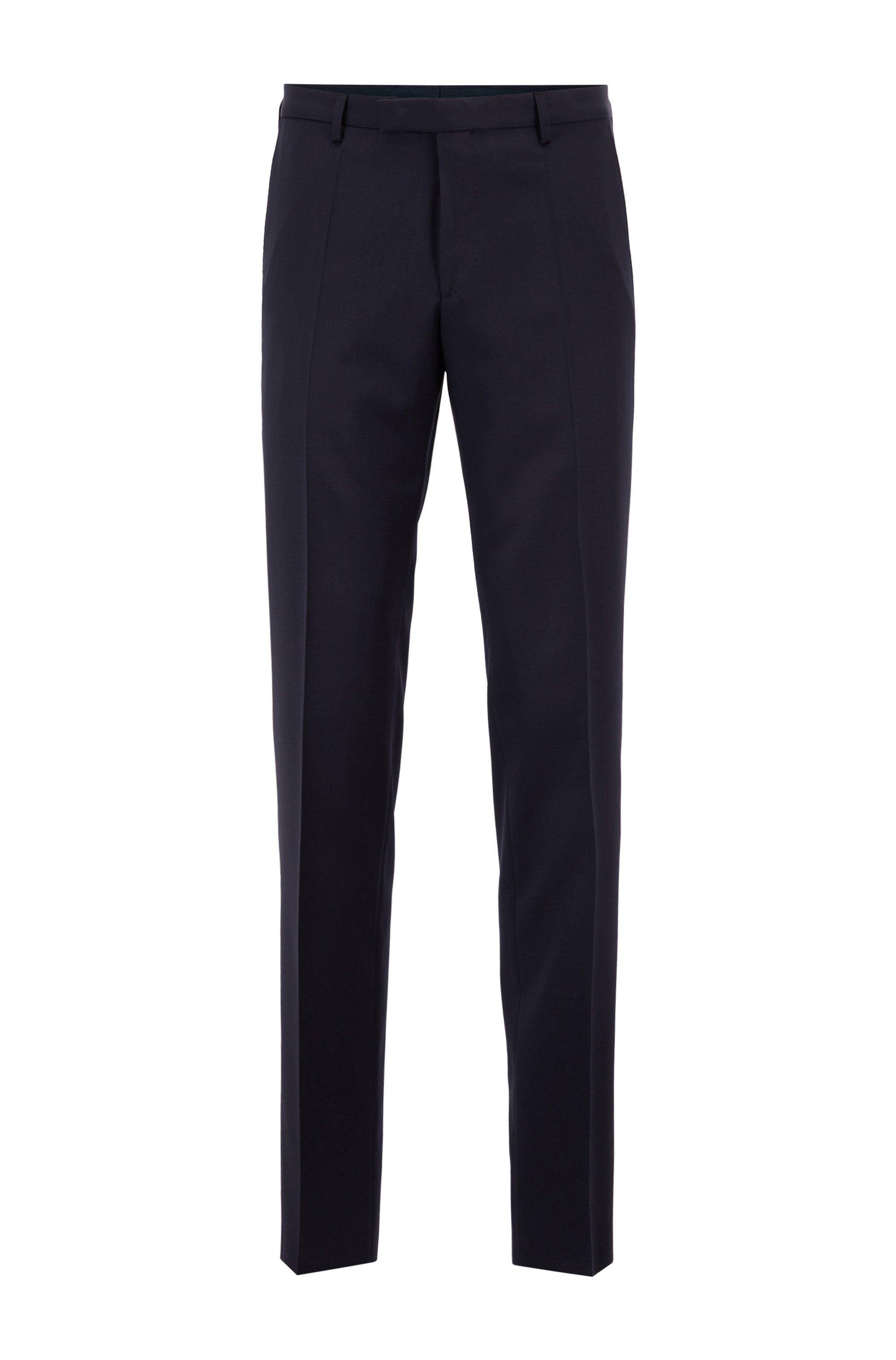 Straight-leg business pants in virgin wool, Dark Blue