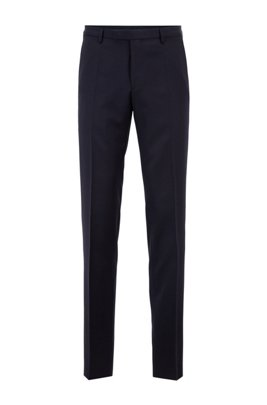 Straight-leg business pants in virgin wool, Dark Blue