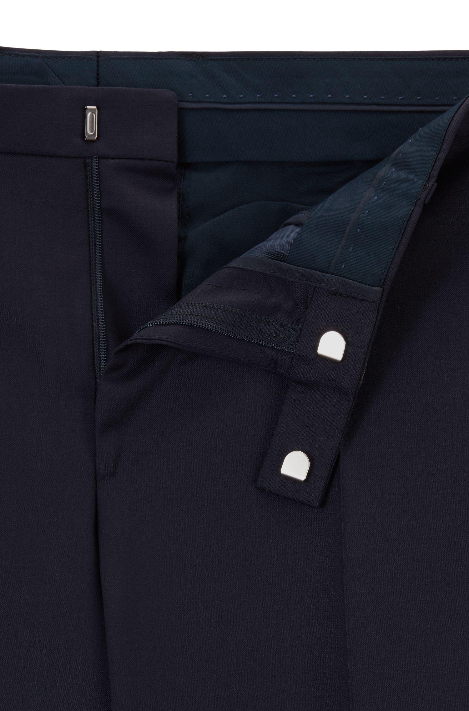 Virgin Wool Dress Pants, Regular Fit | Lenon CYL, Dark Blue