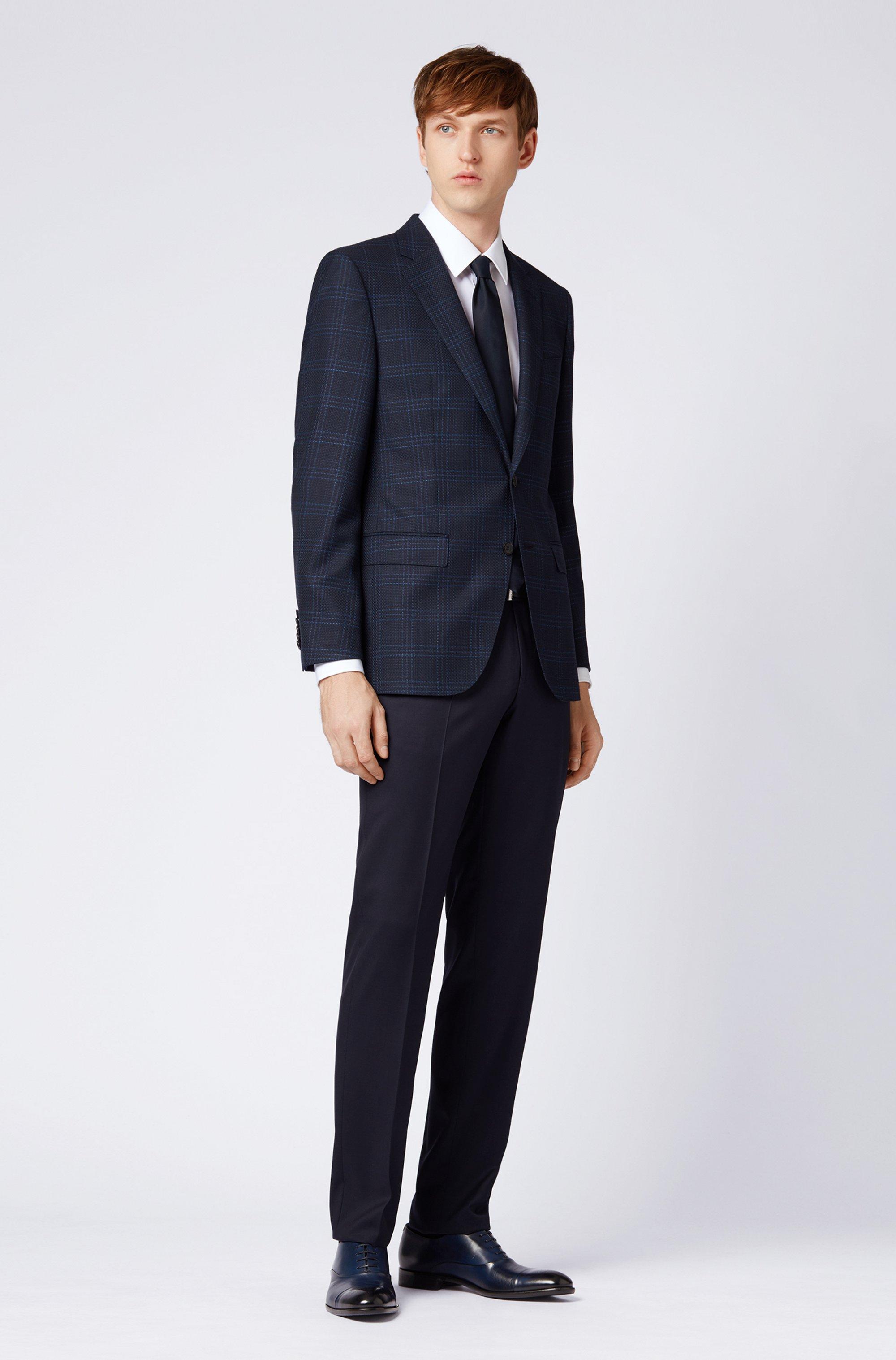 Straight-leg business pants in virgin wool