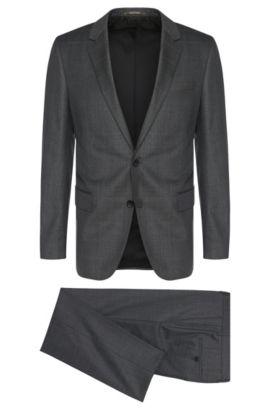 Windowpane Super 110 Italian Virgin Wool Suit, Slim Fit | Huge/Genius, Open Grey