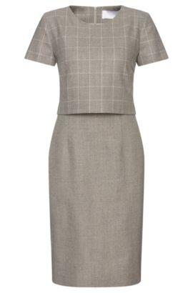 'Decara' | Stretch Virgin Wool Layered Shift Dress, Patterned