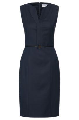 'Dalanda'   Virgin Wool Belted Ribbed Sheath Dress, Patterned