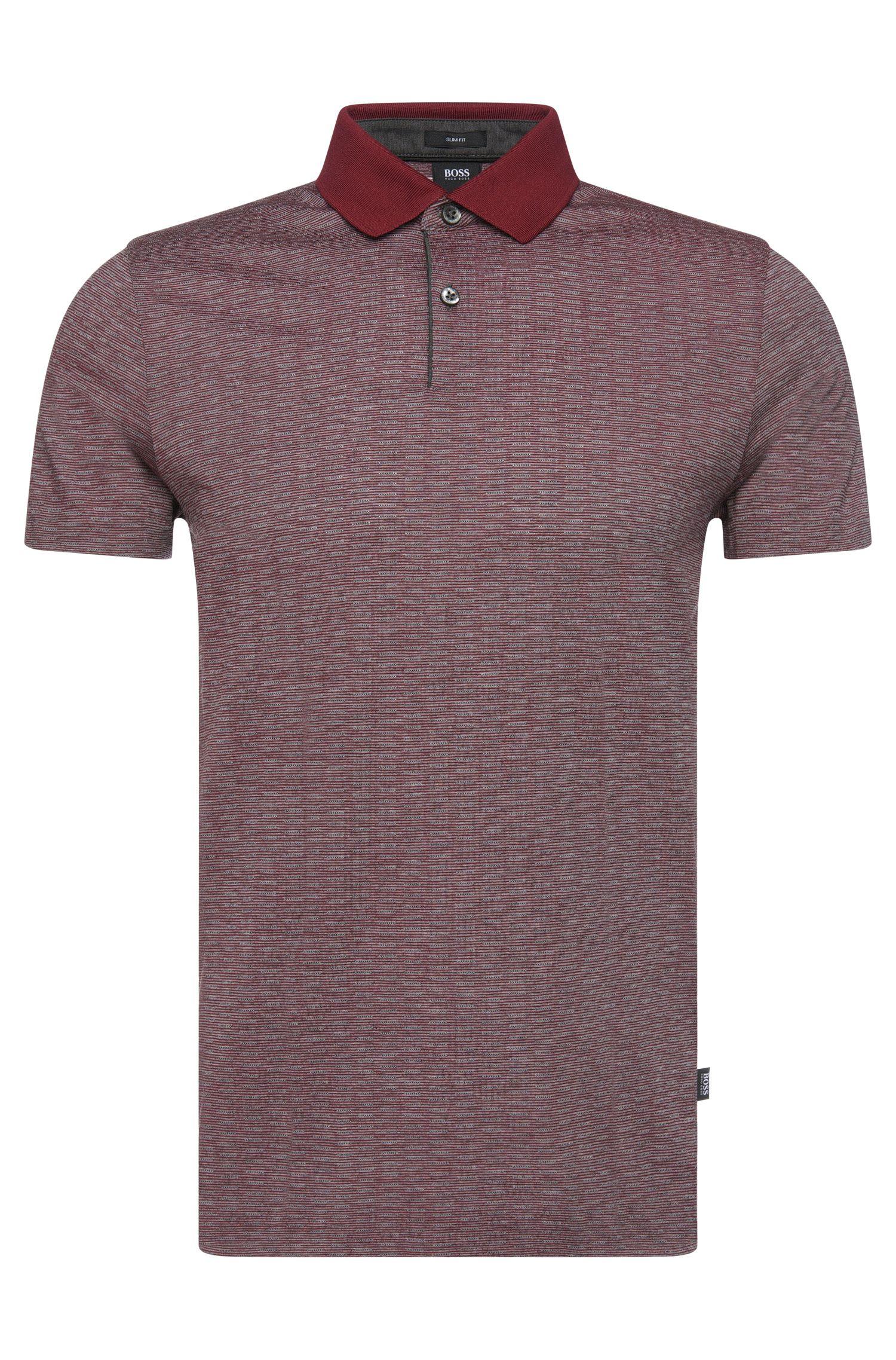 'Parks' | Slim Fit, Wool Cotton Finestripe Polo Shirt