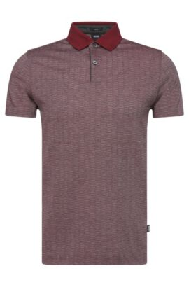 'Parks' | Slim Fit, Wool Cotton Finestripe Polo Shirt, Red