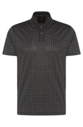 Italian Cotton Patterned Polo, Regular Fit | T-Perry, Charcoal