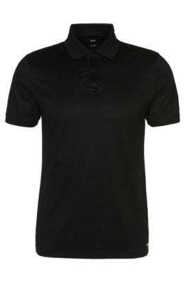 'Penrose' | Slim Fit, Mercerized Stretch Cotton Polo, Black