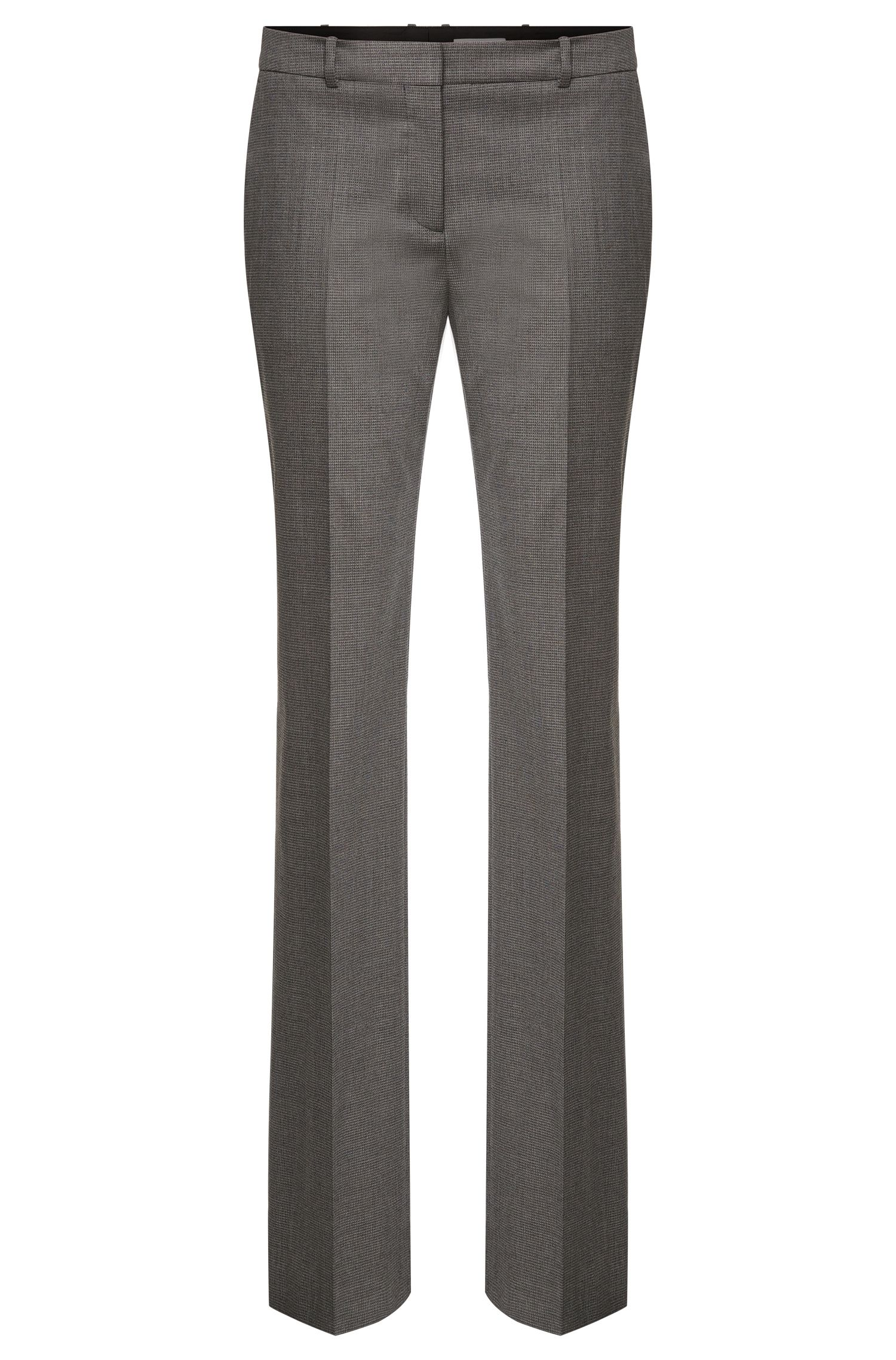 'Tamea' | Stretch Virgin Wool Blend Patterned Dress Pants