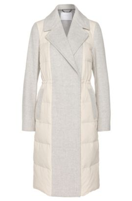 'Polea' | Wool Nylon Long Puffer Coat, Light Beige