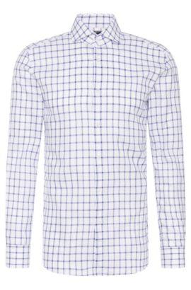 Windowpane Italian Cotton Dress Shirt, Slim Fit | T-Christo, Blue