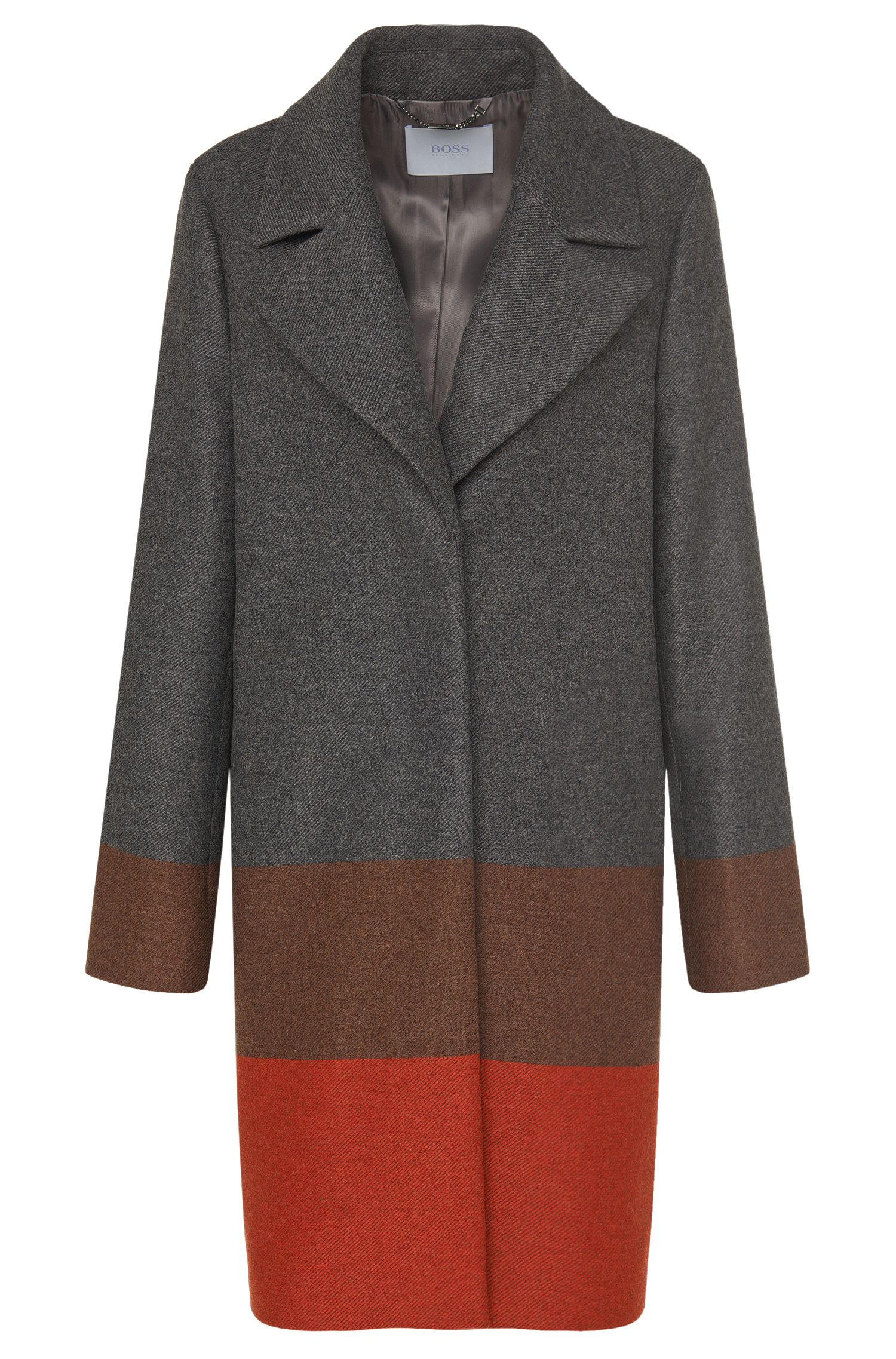 'Colorina' | Wool Cashmere Blend Colorblocked Coat