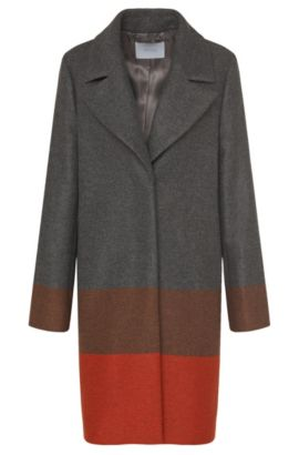 'Colorina' | Wool Cashmere Blend Colorblocked Coat, Patterned
