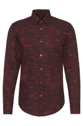 'Ronni' | Slim Fit, Italian Cotton Patterned Button Down Shirt, Open Beige
