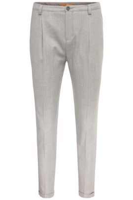 'Sacupra' | Cotton Virgin Wool Pleated Front Trousers, Grey