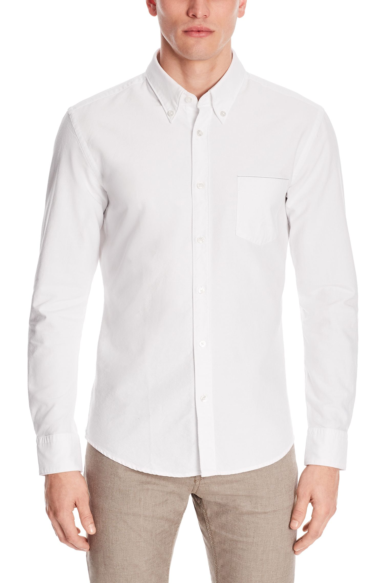 Cotton Oxford Button Down Shirt, Slim Fit | Rubens P, Natural
