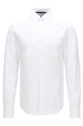 'Rubens P' | Slim Fit, Cotton Oxford Button Down Shirt, Natural