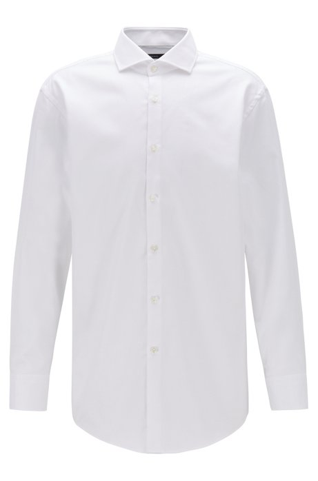 Slim-fit shirt in pure cotton with spread collar, White