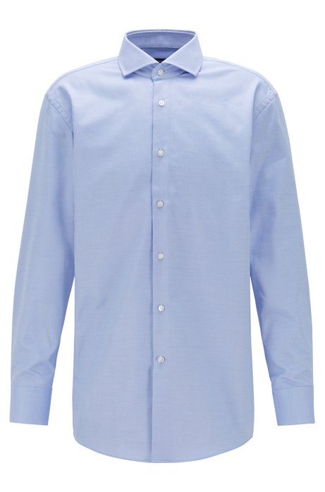 Slim-fit shirt in pure cotton with spread collar, Light Blue
