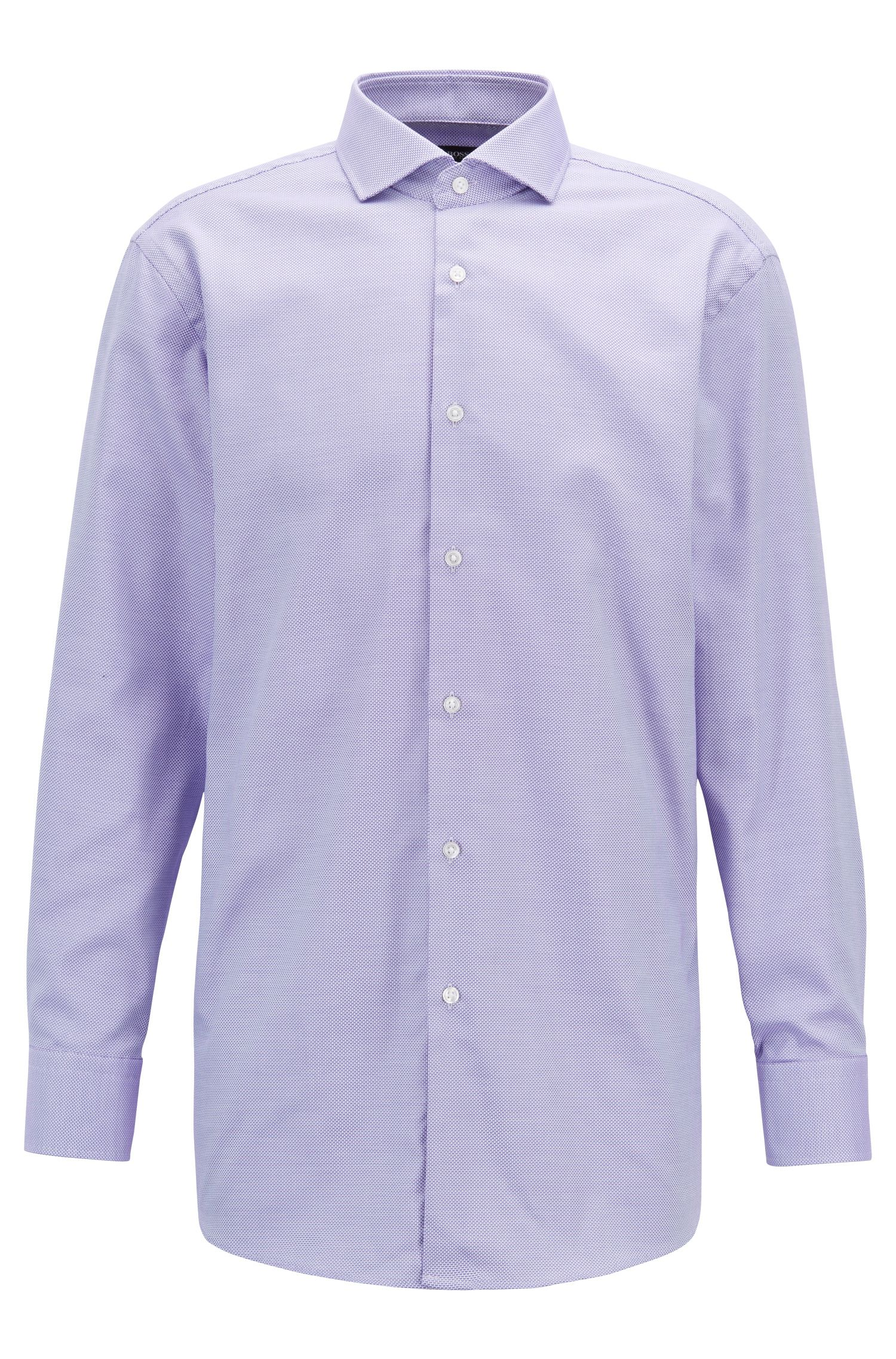 Slim-fit shirt in pure cotton with spread collar, Purple