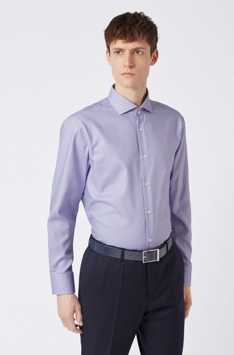 Slim-fit shirt in structured cotton with spread collar, Purple