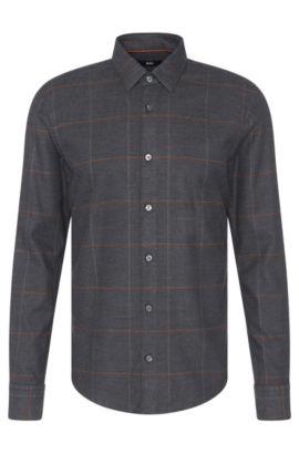 'Reid F' | Slim Fit, Stretch Cotton Button Down Shirt, Charcoal
