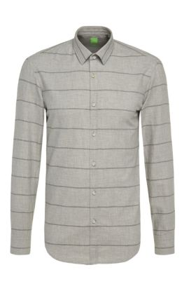 'Bambra' | Slim Fit, Cotton Flannel Striped Button Down Shirt, Light Grey