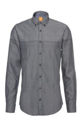 'EdipoE' | Slim Fit, Cotton Button Down Shirt, Dark Blue