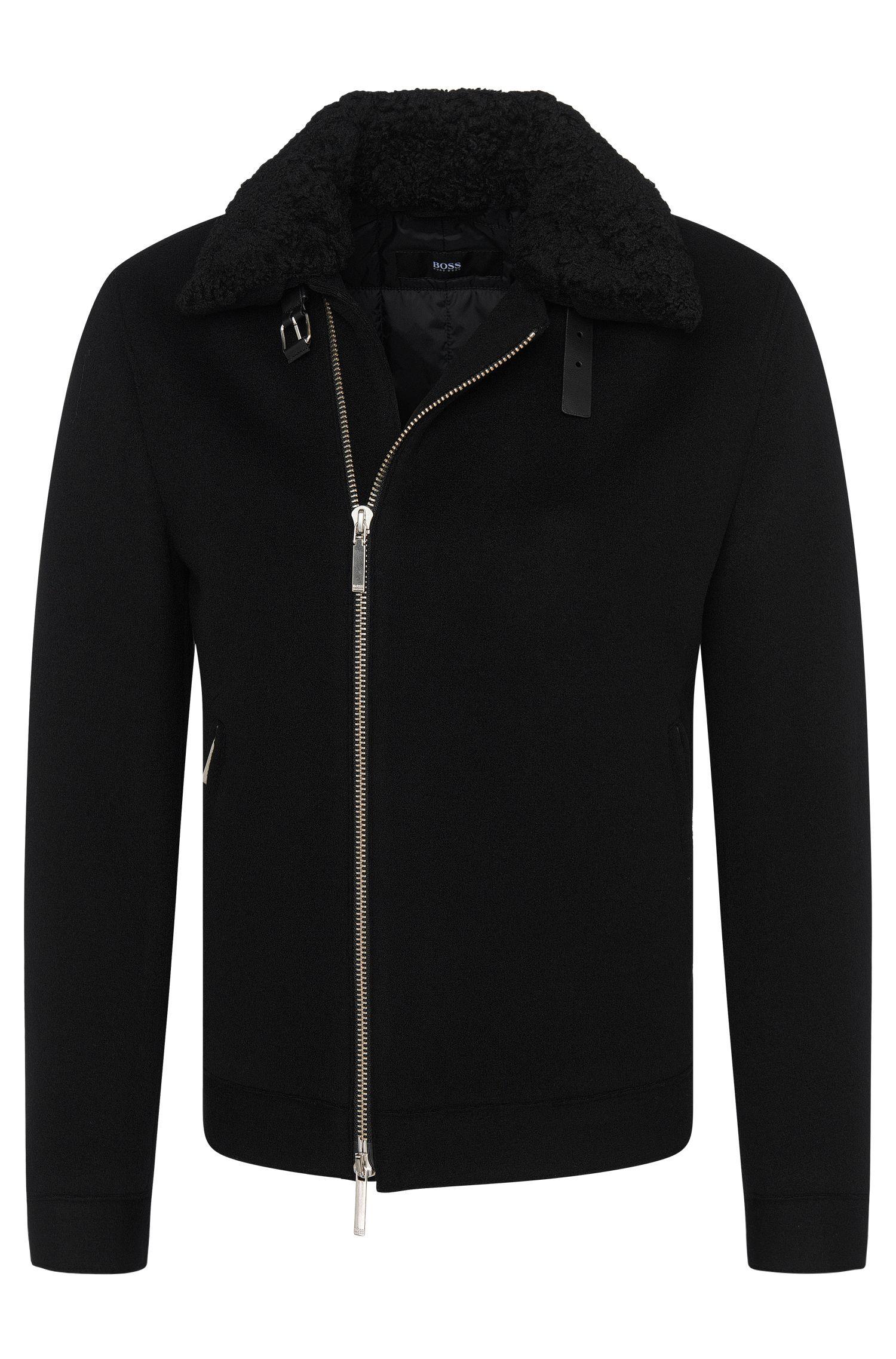 'Calsen' | Wool Blend Raw-Cut Jacket, Removable Shearling Collar