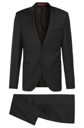 Hairline Striped Virgin Wool Suit, Extra-Slim Fit | Adris/Heibo, Black
