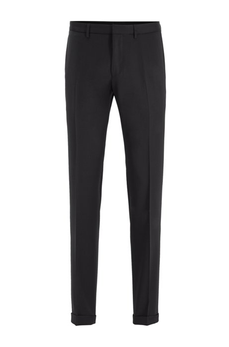 Extra-slim-fit pants in virgin wool, Black