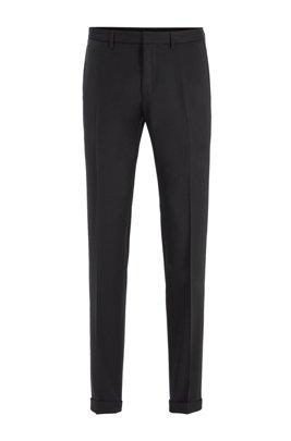 Extra-slim-fit pants in virgin wool, Black