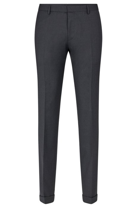 Extra-slim-fit pants in virgin wool, Dark Grey
