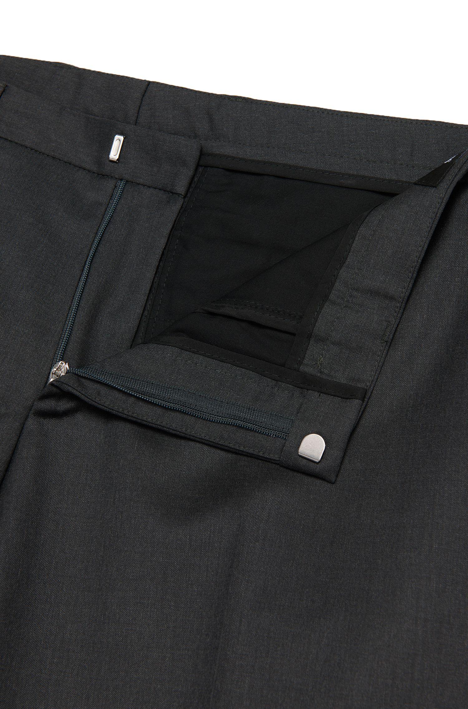 Virgin Wool Dress Pant, Extra Slim Fit | Wave CYL, Dark Grey