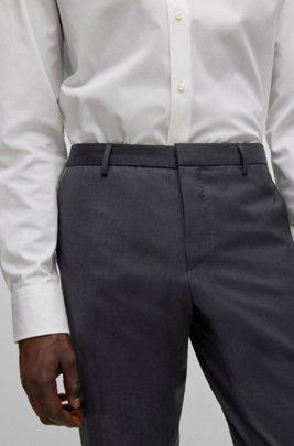Extra-slim-fit pants in virgin wool, Dark Grey