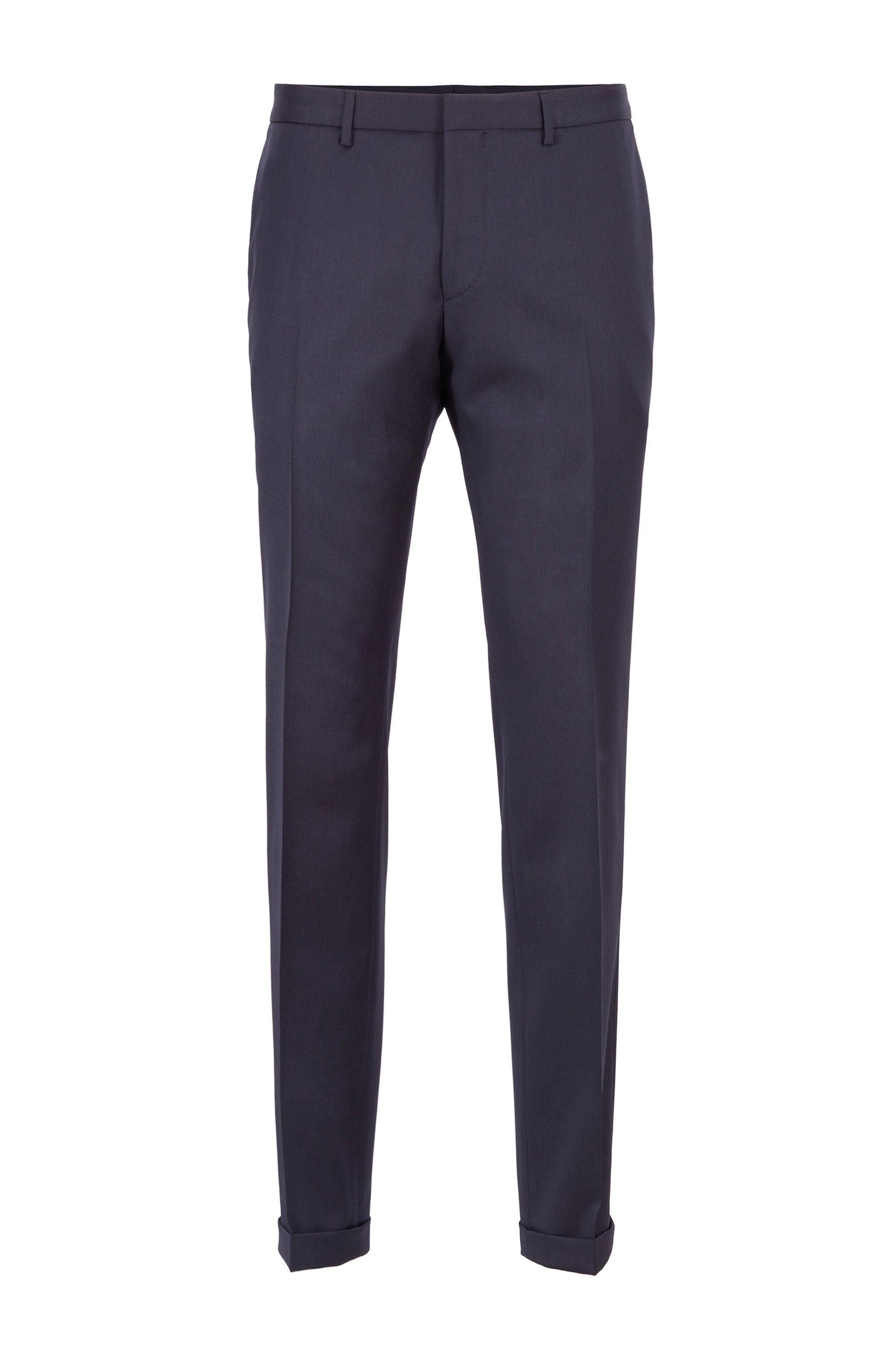 Extra-slim-fit pants in virgin wool, Dark Blue