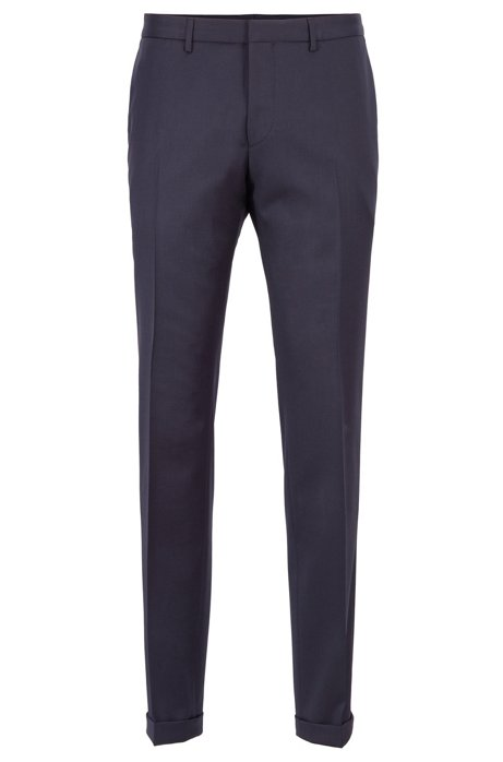 Extra-slim-fit pants in virgin wool, Dark Blue
