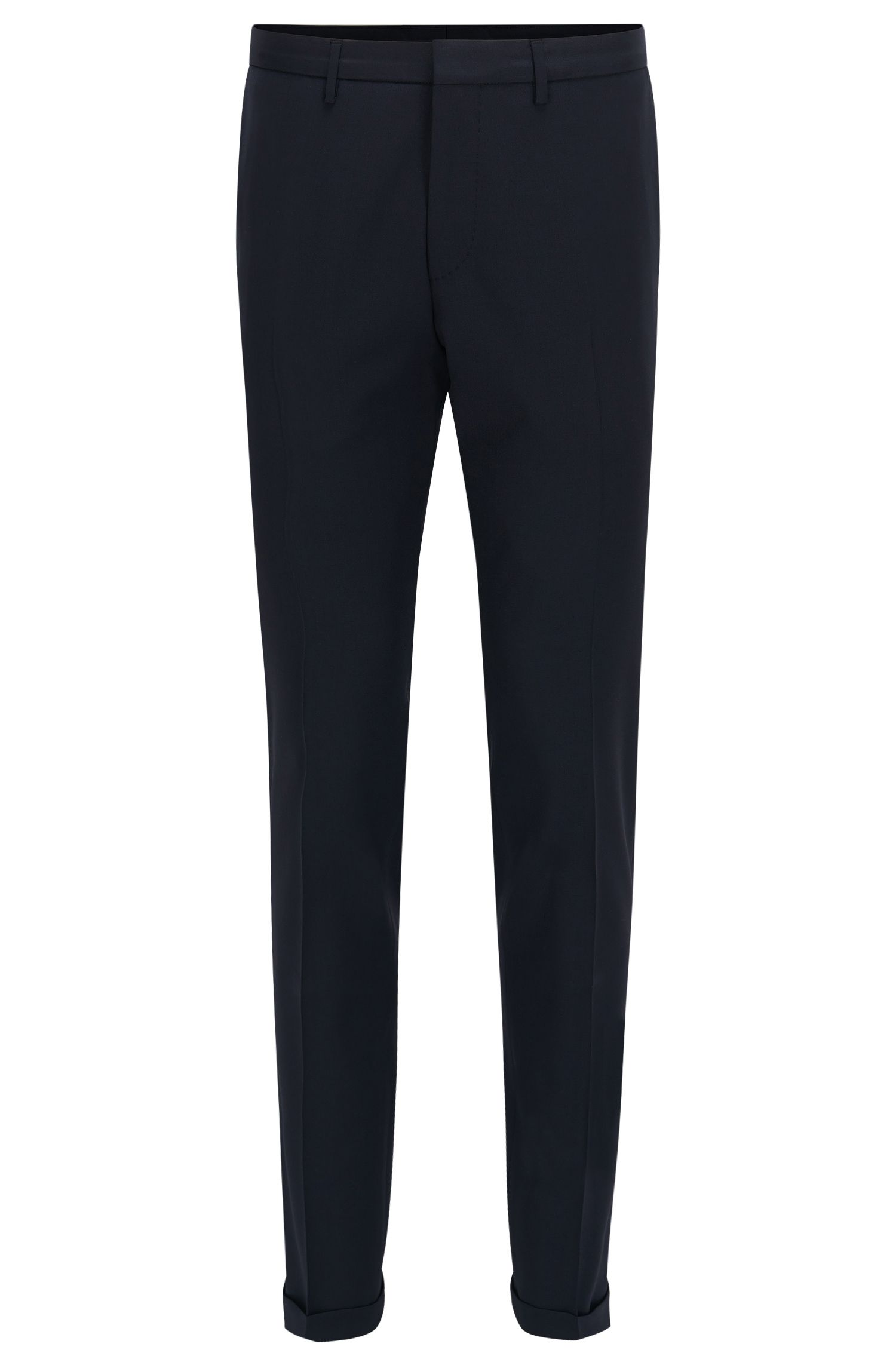 Virgin Wool Dress Pant, Extra Slim Fit | Wave CYL, Dark Blue
