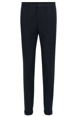 Virgin Wool Dress Pants, Extra Slim Fit | Wave CYL, Dark Blue