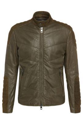 'Jendricks' | Suede Sheepskin Detail Biker Jacket, Green