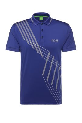 'Paule Pro' | Slim Fit, Stretch Graphic Polo, Open Blue