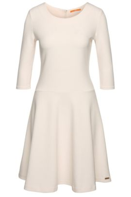'Dipleat' | Stretch Cotton Blend Ribbed A-Line Dress, Natural