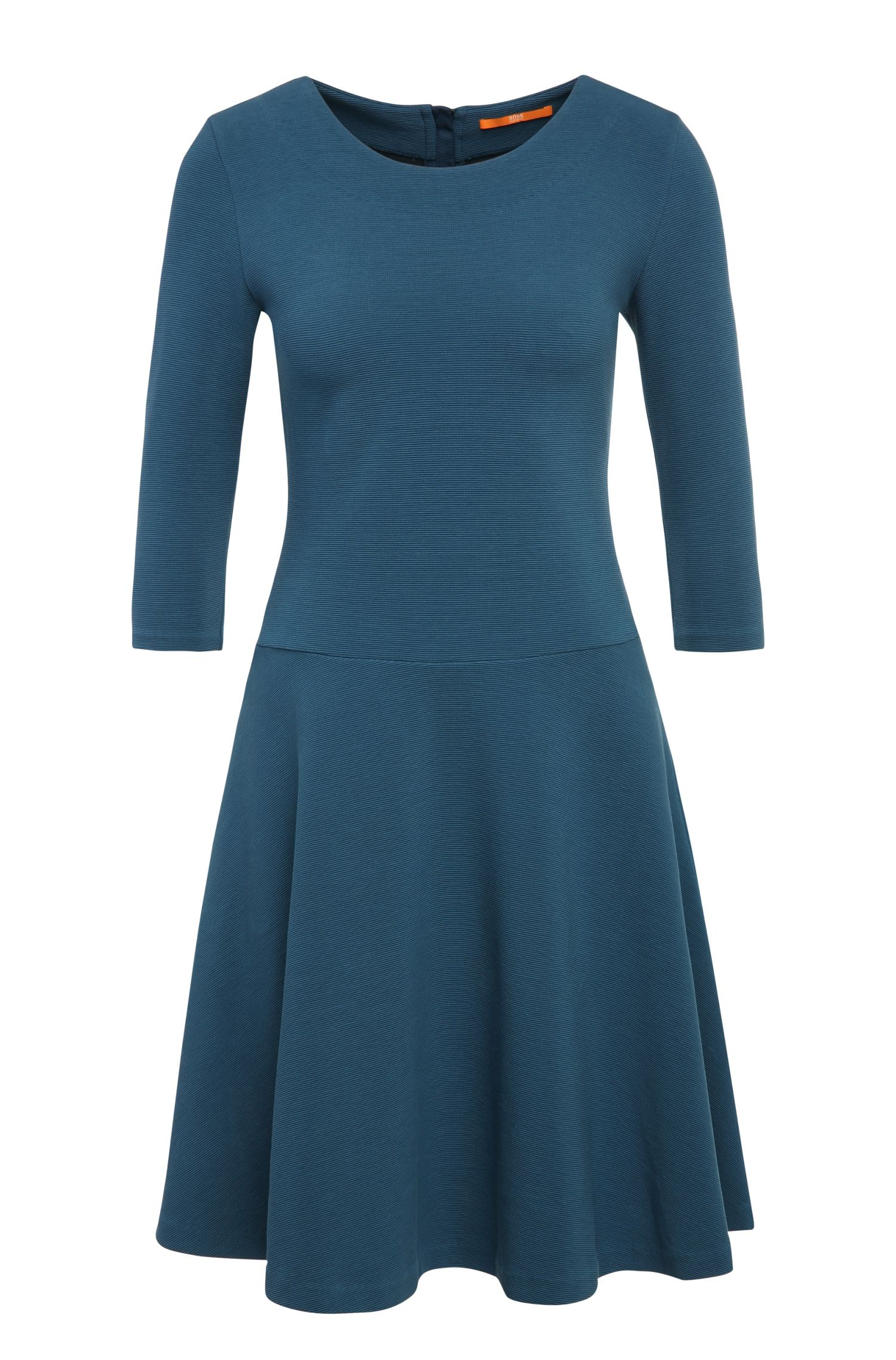 'Dipleat' | Stretch Cotton Blend Ribbed A-Line Dress