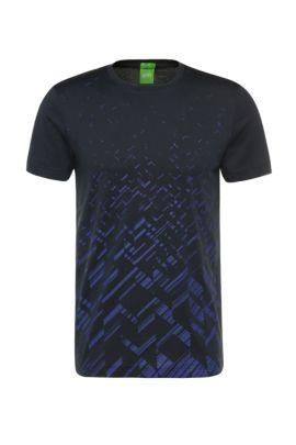 'Teeocell'   Cotton Lyocell Patterned T-Shirt, Dark Blue