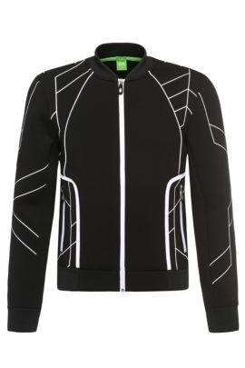 'Sharrell' | Stretch Cotton Nylon Zip Jacket, Black