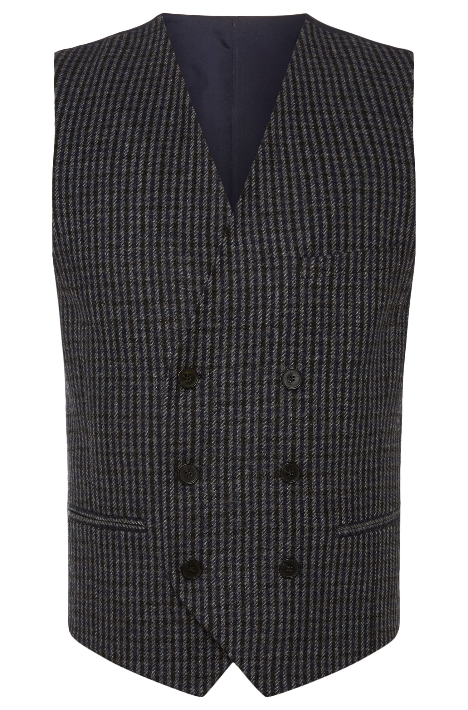 'Winso' | Slim Fit, Double Breasted Wool Blend Vest