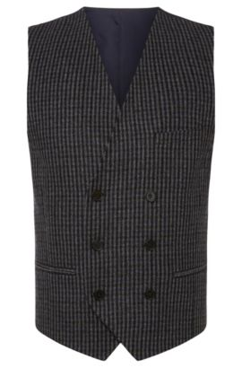 'Winso' | Slim Fit, Double Breasted Wool Blend Vest, Dark Blue