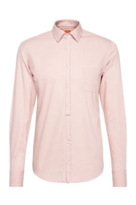 Printed Cotton Button Down Shirt, Extra Slim Fit | EslimE, light pink